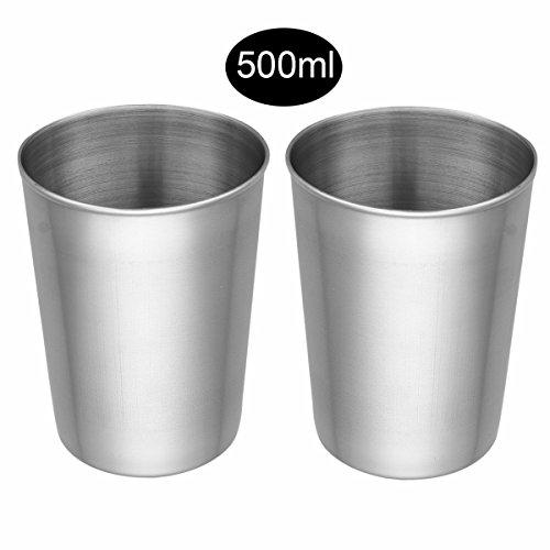 lstahl Becher Tasse Schnaps Becher Kleinkinder Trink Gläser Tassen 50ml/180ml/320ml/500ml Silber D 2x500ml ()