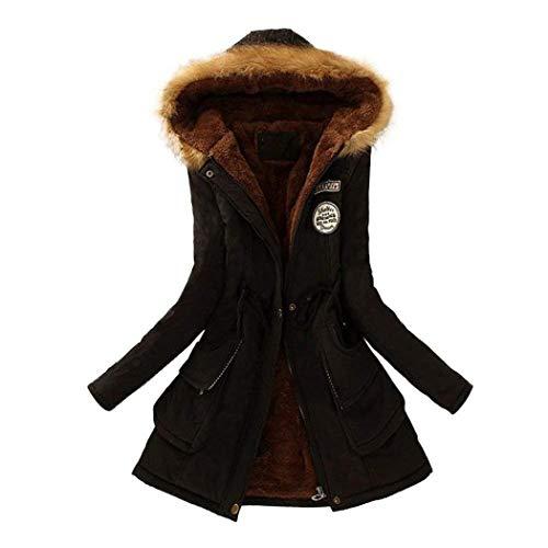 Damen Jacke Winter Grosse Grössen Modern Übergangsjacke Baumwolle Reißverschluss Warmer Mantel Wintermantel mit Pelzkapuze Mitte-Lange