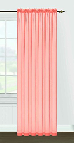Editex Heimtextilien Monique Sheer Fenster Panel, 55 von 84 Zoll, Pfirsich Monique Panel