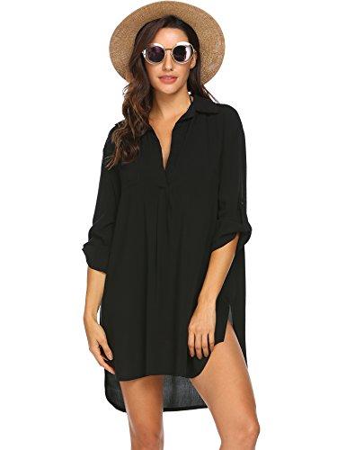 Unibelle Damen Strandkleid Sommerkleid Bikini Cover Up Sommer Bademode Longshirt Tunika Strandponcho, Schwarz, Small