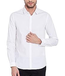 22cddabe52b08 Mens Casual White Full sleeves Button down Cotton Shirt