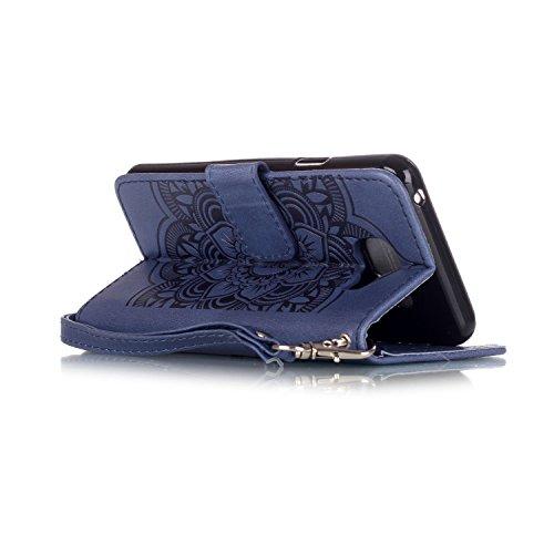 iPhone SE Fall, iPhone SE Leder Case, Flip Wallet Case für iPhone 5S, toyym 3D Dreamcatcher Premium Muster bunt PU Leder Wallet Case Cover Tasche [Magnetverschluss] mit Kartenschlitzen für Apple iPhon blau