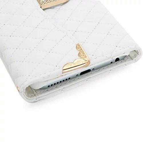 Vandot 3 in 1 Accessori Bling Case Cover Cuoio Del Diamante Magro Flip Case Set per iPhone 5 5S, Portafoglio Card Cover PU Elegante Brillante Cristallo Rhinestone Magnetico Basamento Libro Protettiva  Bianco