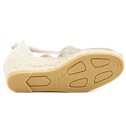 "VISCATA Escala 2.5"" Heel, Soft Ankle-Tie, Closed Toe, Classic Espadrilles Heel Made in Spain Crochet Beige"