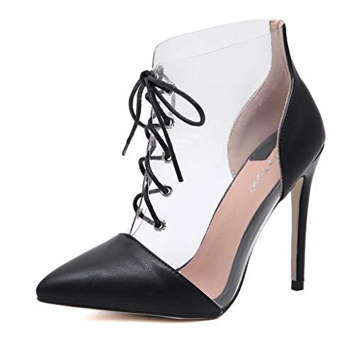Damen Sandalen High Heels Slingback Stiletto Peep Toe Pumps Glitzer Party Mode sexy Lady transparent Kreuzgurt Stiletto spitz Booties