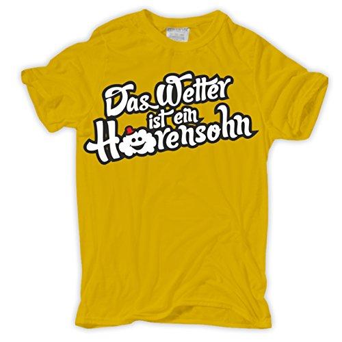 Männer und Herren T-Shirt Das Wetter ist ein Hurensohn Gelb