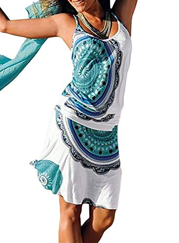 Happy Sailed Damen Ärmellos Druck Strandkleid Minikleid Sommerkleid Tunikakleid Strandtunika Beachwear S-XL, Hellblau, X-Large (EU48-50)
