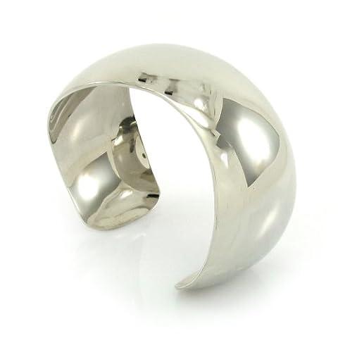 MGD, 30 mm de large - Bracelet en laiton - Bracelet de Ton argent - Bijoux de Mode pour Les Femmes - les Adolescents et les Filles - JE-0008B