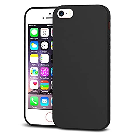 iPhone SE Case,Splaks® [Black] Extra Shock-Absorb Case Cover with Camera Protection ,Extreme Lightweight Soft Flexible TPU Rubber Anti-Scratch Protective Case For iPhone SE/5 SE/5/5S-Black