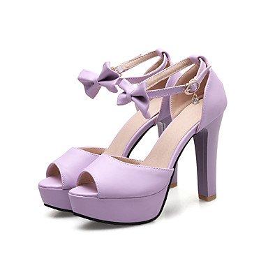 LvYuan Sandalen-Kleid Lässig Party & Festivität-Kunstleder-Blockabsatz-D'Orsay und Zweiteiler-Blau Rosa Lila Weiß Purple