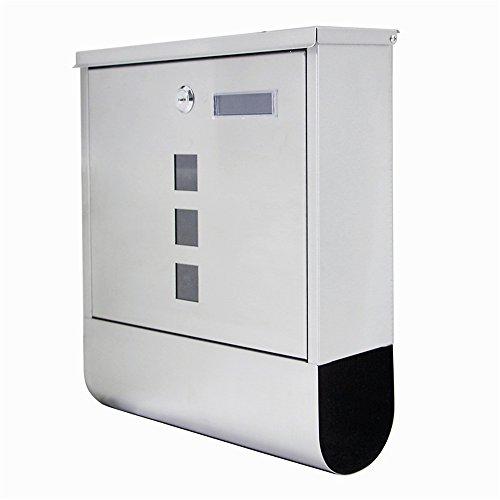 SAILUN® Edelstahl-Briefkasten mit Zeitungsrolle Aufklappbarem Regendach Postkasten mit Zeitungsfach (Silber, B Type) - 2