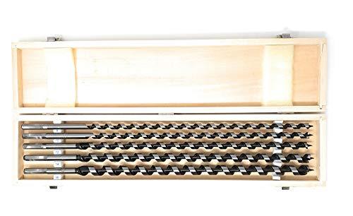 DWT-GERMANY 100062 5 tlg Set 460mm 8-16mm Schlangenbohrer Holzbohrer Holzschlangenbohrer Set Holz Holzschlangenbohrerset Schneckenbohrer Bohrer Holzbearbeitungswerkzeug