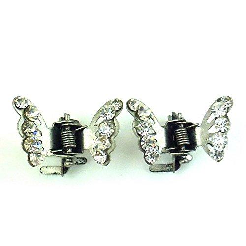 rougecaramel - Accessoires cheveux - Mini pince crabe papillon en strass 2pcs - gris