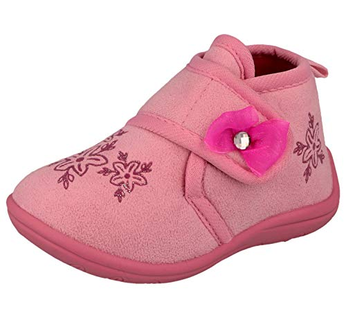 Yinka Shoes Girls Baby Infant Fleece Touch Close Strap Bow Bootie Warm Slippers Boots Size 3-8