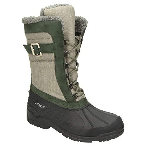 BOWS® -SUSI- Winterstiefel Damen Schnee Stiefel Snow Schuhe Winterboots warm gefüttert wasserdicht wasserabweisend, Schuhgröße:38, Farbe:grün-beige