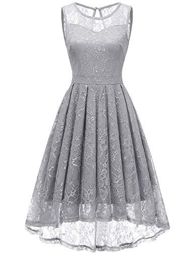 """Gardenwed Damen Kleid Retro Ã""""rmellos Kurz Brautjungfern Kleid Spitzenkleid Abendkleider CocktailKleid Partykleid Grey XS"""
