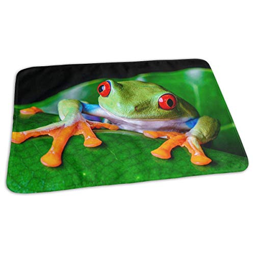 Voxpkrs Red-Eyed Tree Frog Green Leaf Portable Changing Pad,Reusable Unisex Baby Soft Changing Mat with Reinforced Seams -