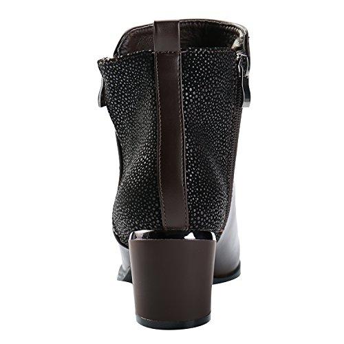 Alexis Leroy Damen Reißverschluss Stiefel Chelsea Ankle Boots mit Absatz Braun
