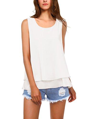 BaiShengGT Frauen Sommer Cool Lässiges ärmelloses Mehrlagen Chiffon Cami Tank Top Weiß M (Weißes Shirt Tank-top Ärmelloses)