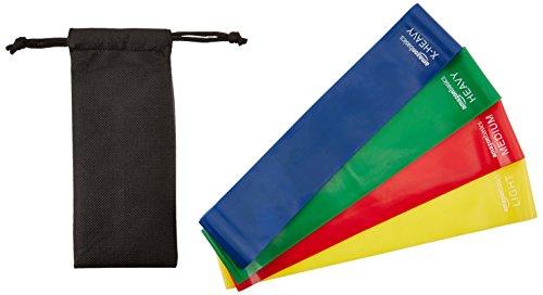 AmazonBasics Trainingsbänder-Set, Gymnastikbänder, 4-teilig, Schlaufenform, inkl. Tragetasche