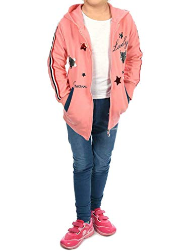 Kind Rosa Kostüm Jacke - Kinder Mädchen Sweat-Jacke Jeggings Sweat-Shirt Leggings Hosen Freizeit-Hose Sport-Anzug (2 TLG. Set) 30019 Rosa 152