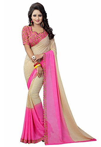 Ishin Faux Georgette Beige & Pink Printed Party Wear Wedding Wear Casual Wear Festive Wear Bollywood New Collection Latest Design Trendy Women's Saree/Sari  available at amazon for Rs.399