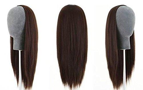 Remeehi 3/4Halbe Perücke, 100% indisches Remy, menschliches Haar, seidig, glattes Haar, gewebte Kappe, verschiedenen Farben zur Auswahl -