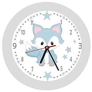 ✿ Kinderwanduhr in 4 Farben ✿ Fuchs Fox blau ✿ Wanduhr ✿ KEIN TICKEN ✿ mit/ohne Name