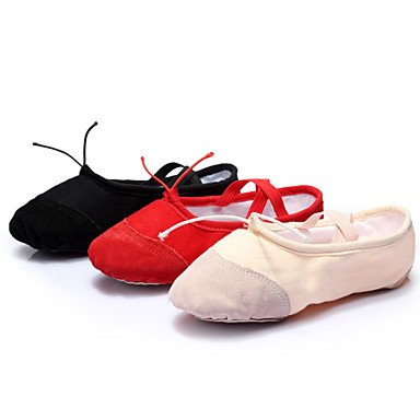 Ruhe @ Damen Tanzschuhe Ballett Leder/Canvas flach Ferse schwarz/rot/andere Beige