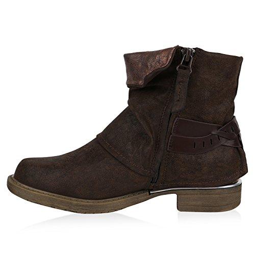 Stiefelparadies Gefütterte Damen Biker Boots Stiefeletten Winterschuhe Metallic Prints Nieten Schnallen Übergößen Schuhe Flandell Dunkelbraun Glanz