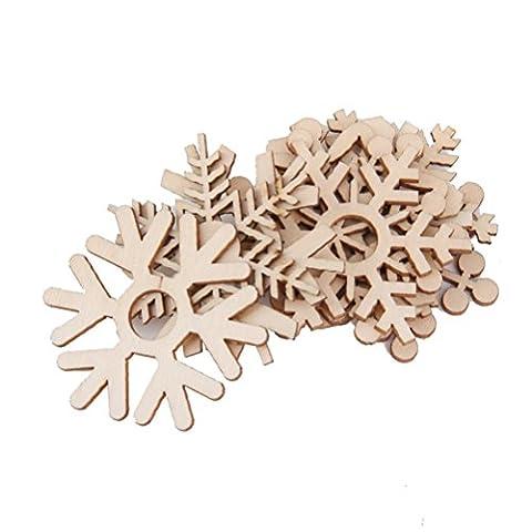 Pixnor 10pcs assortis des flocons de neige en bois découpes Craft embellissement Gift Tag bois ornement de Noël Weding