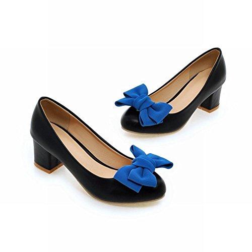 Mee Shoes Damen mit Schleife chunky heels runde Pumps Schwarz