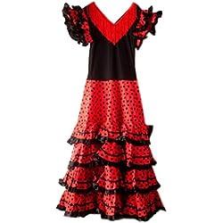 La Senorita Vestido Flamenco Español Traje de Flamenca para mujer negro rojo