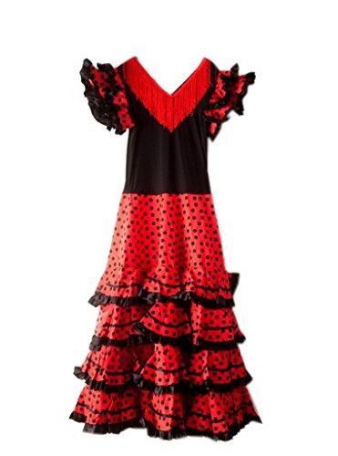 Flamenco Mädchen Kostüm Tänzerin - La Senorita Spanische Flamenco Kleid/Kostüm - für Mädchen/Kinder - Schwarz/Rot (Größe 34-36 - Länge 115 cm- damen, Mehrfarbig)