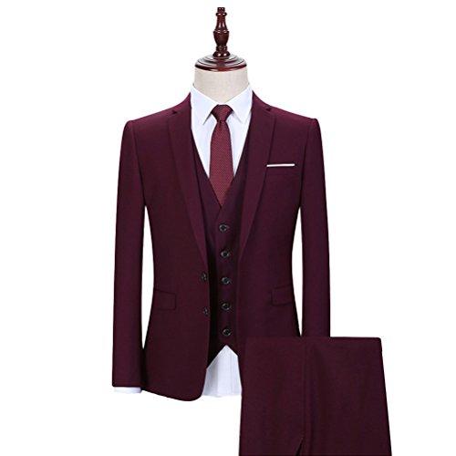 3 Teilig Herren Anzug Smoking mit Weste Jacke und Hose für Business Hochzeit und Party EIN oder Zwei Knopf