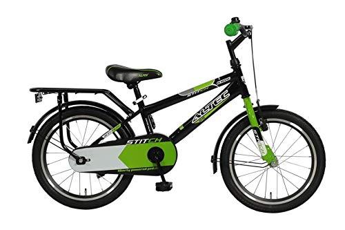 """Altec 18"""" 18 Zoll Kinder Kinderfahrrad City Jungen Fahrrad Bike Rad Kinderfahrrad Citybike Cityfahrrad Jungenfahrrad Rücktrittbremse Stitch SCHWARZ GRÜN"""