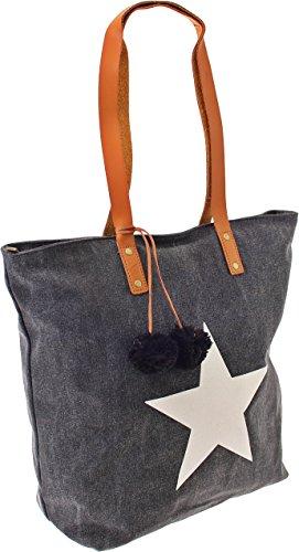 Shopper Canvas-Tasche Blogger Schultertasche Canvas Damen Handtasche Schultertasche Umhängetasche Henkeltasche (Olive) Schwarz