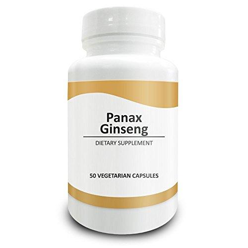 Pure Science Extracto de ginseng panax rojo 600mg (4% Ginsenosido) - Las cápsulas de ginseng panax aumentan la concentración, reducen el estrés, incrementan la vitalidad y la libido - 50 cápsulas vegetarianas de polvo de ginseng panax