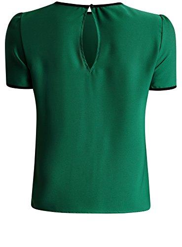 oodji Ultra Femme Top avec Liens à Nouer et Finition Contrastante Vert (6E00N)