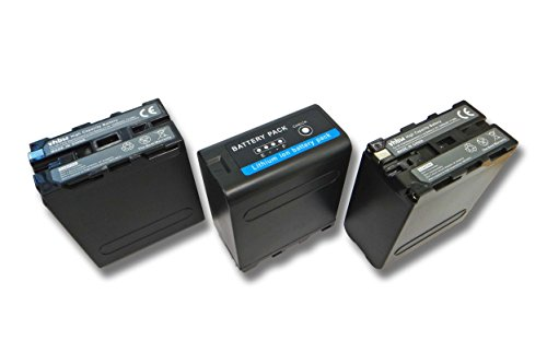 vhbw 3X Li-Ion Akku 10400mAh (7.4V) für Videokamera Camcorder Sony Cyber-Shot Point & Shoot DSR-PD100A, DSR-200 wie Sony NP-F990. -