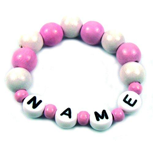 Baby Kinder Armband mit Namen Taufe Geburt Holz rosa weiß
