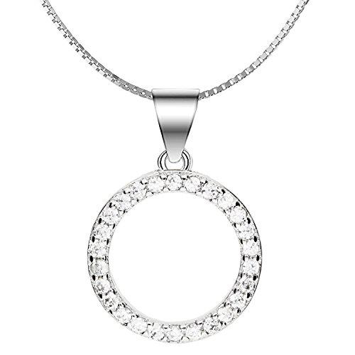 MYA art Premium Damen Halskette Kette 925 Sterling Silber Kreis Ring-Anhänger Offen mit Zirkonia Strass Steinen Minimalistisch Geometrisch 45cm MYASIKET-94 -