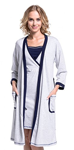 Happy mama. donna vestaglia / camicia notte prémaman venduti separatamente. 772p (vestaglia - grigio & marina, it 42, l)
