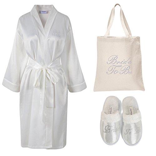 Baumwolle Satin Robe ((Ivory) - Varsany Ivory Rhinestone Bride To Be Satin Bathrobe + Spa Slipper + Tote Bag wedding Personalised day hen party gift set)