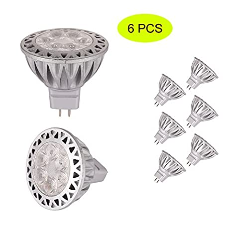 (Pack of 6) MR16 7W Led Bulb Light, Tracffy Replace 40W Halogen Equivalent, Not Dimmable, 38° Beam Angle, 50x48mm, 4000K , ADC 12V, Ra >70, Aluminum Bi pin Spotlight for Indoor Decor Outdoor Landscape Lighting -
