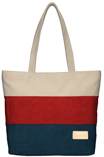DCCN Canvas Beach Tote Bags Multi-Color Shopper Shoulder Bag