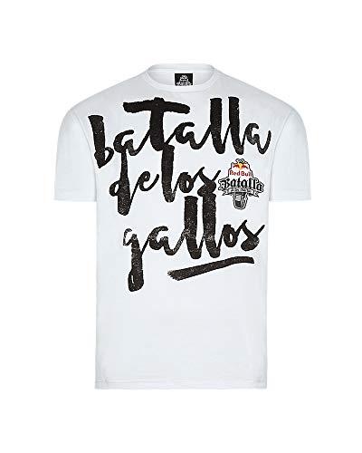 Red Bull Camiseta Batalla de los Gallos Original Ropa de Hombre de Manga Corta en Blanco Hip Hop Rap Freestyle Streetwear, Man White T-Shirt Print
