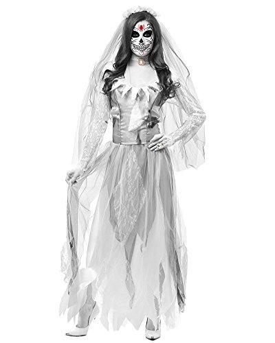 Kostüm Monster Braut - DianShao Geisterbraut Zombiekostüm Kostüm Halloweenkostüm Braut Karnevalskostüm Frauenkostüm Horror Damenkostüm Gothicbraut Grau L