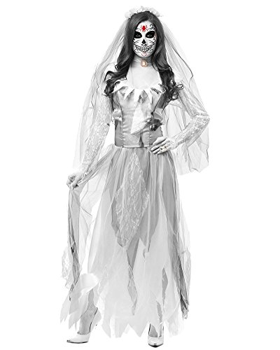 DianShao Geisterbraut Zombiekostüm Kostüm Halloweenkostüm Braut Karnevalskostüm Frauenkostüm Horror Damenkostüm Gothicbraut Grau S