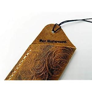 Echtlederetui für ein Schreibgerät mit Blumenornamentoptik